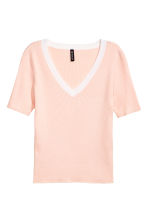 V-neck short-sleeved jumper - Light apricot - Ladies | H&M CN 2