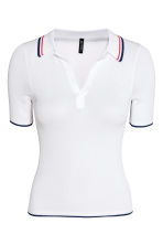 Ribbed polo shirt - White - Ladies | H&M 2