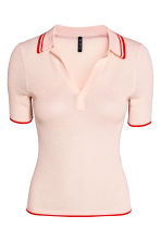 Ribbed polo shirt - Light apricot - Ladies | H&M CN 2
