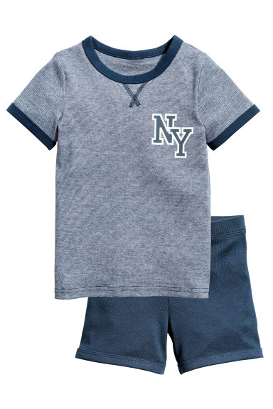 Jersey pyjamas - Dark blue/Narrow striped - Kids | H&M