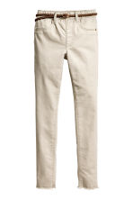 Trousers with a belt - Light beige -  | H&M 2