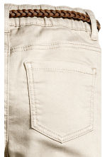 Trousers with a belt - Light beige -  | H&M 4