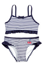 Patterned bikini - White/Dark blue/Striped -  | H&M 1