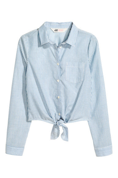 前綁結女衫 - Blue/White/Striped -  | H&M 1