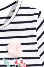 Short-sleeved top - White/Dark blue/Striped -  | H&M CN 3