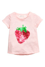 Short-sleeved top - Light pink/Strawberry -  | H&M CN 2