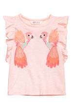 Top with appliqués - Light pink/Parrots -  | H&M 2
