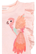 Top with appliqués - Light pink/Parrots -  | H&M 3