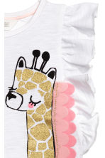 Top with appliqués - White/Giraffe -  | H&M 3