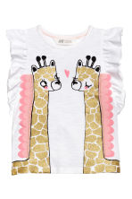 Top with appliqués - White/Giraffe -  | H&M 2