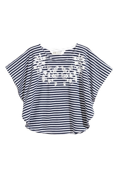 Printed top - Dark blue/Striped -  | H&M 1