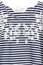 Printed top - Dark blue/Striped -  | H&M 2