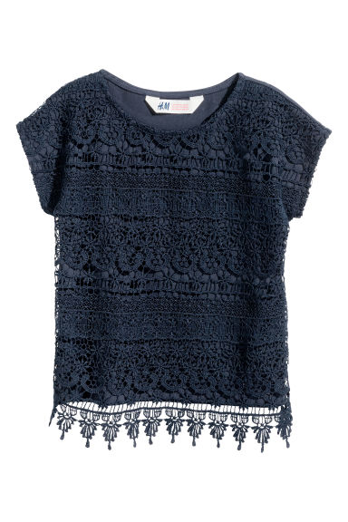 Top with lace - Dark blue -  | H&M CA 1