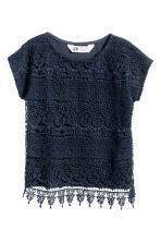Top with lace - Dark blue - Kids | H&M CN 1