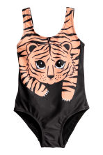 Printed swimsuit - Black/Tiger - Kids | H&M CN 1