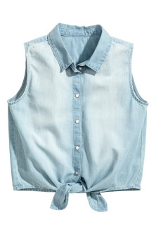 Mouwloze denim blouse