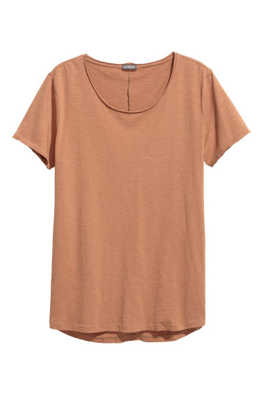 Raw-edge T-shirt - Camel - Men | H&M
