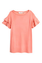 Top with flounced sleeves - Coral -  | H&M 2