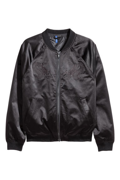 Bomber ricamato - Nero - UOMO | H&M IT
