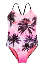 Patterned swimsuit - Pink/Palms - Kids | H&M 1