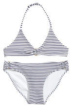 Triangle bikini - White/Dark blue/Striped -  | H&M 1