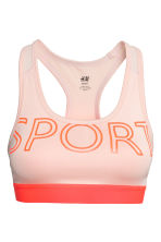 Sports bra Medium support - Powder pink -  | H&M 2