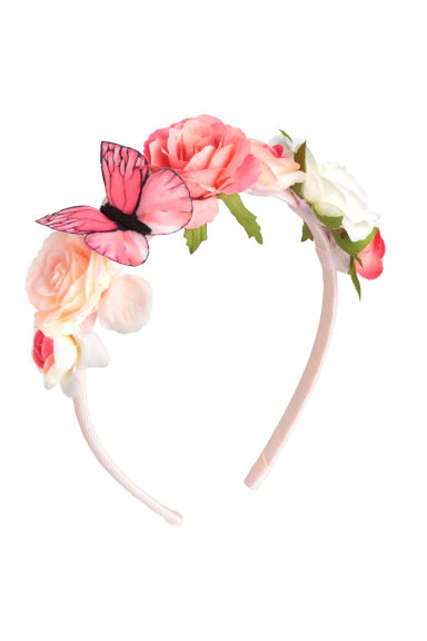 Alice band with flowers - Light pink -  | H&M 1