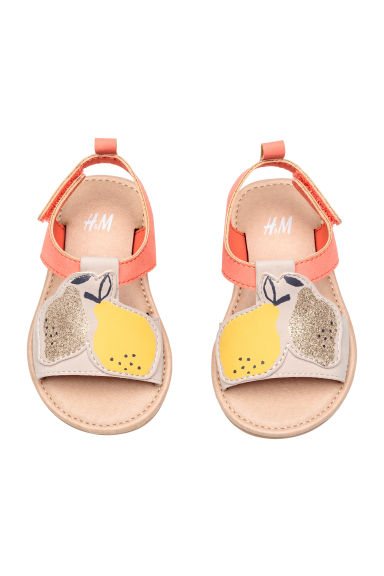 Appliquéd sandals - Powder/Coral -  | H&M 1