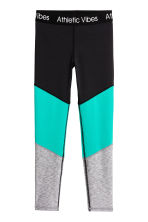 Sports tights - Black/Turquoise -  | H&M 2