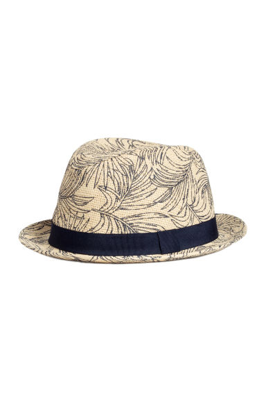 Patterned straw hat - Natural white/Leaf  - Men | H&M CN 1
