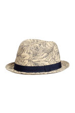 Patterned straw hat - Natural white/Leaf  - Men | H&M 1