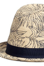 Patterned straw hat - Natural white/Leaf - Men | H&M CN 2