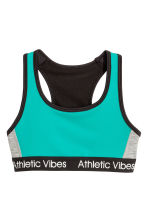 Sports top - Black/Turquoise - Kids | H&M CN 1