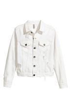 Trashed denim jacket - White denim - Ladies | H&M 2