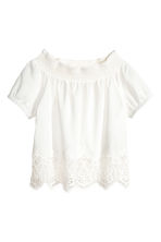 Cotton lace top - White -  | H&M CN 2