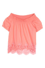 Cotton lace top - Coral pink -  | H&M 2