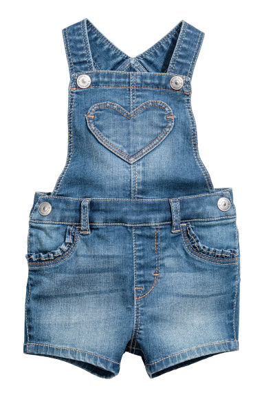 Salopette corta in denim - Blu denim -  | H&M IT 1