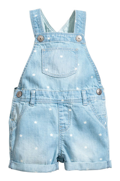 Denim dungaree shorts - Light denim blue/Stars -  | H&M