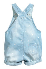 Denim dungaree shorts - Light denim blue/Stars -  | H&M 2