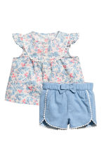 Blouse and shorts - Light pink/Floral -  | H&M CA 1