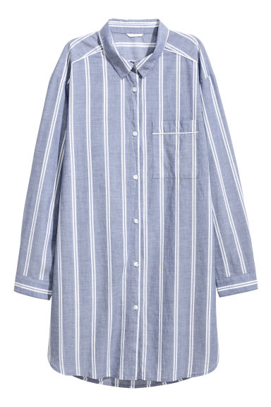 棉質睡衣襯衫 - Blue/Striped - Ladies | H&M 1