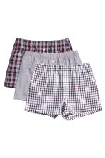 3件入四角褲 - Burgundy/Checked - Men | H&M 2