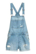 Denim dungaree shorts - Light denim blue - Ladies | H&M CN 2