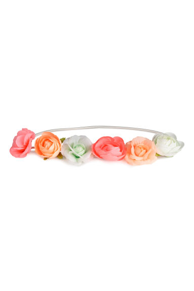 Hairband with flowers - Neon pink/White - Kids | H&M CA 1