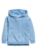Fine-knit hooded jumper - Blue washed out - Kids | H&M 2