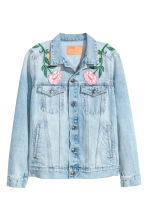 Embroidered denim jacket - Light denim blue/Floral - Ladies | H&M 2