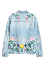 Embroidered denim jacket - Light denim blue/Floral - Ladies | H&M 3
