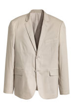 Cotton-blend jacket Slim fit - Light beige - Men | H&M CN 2