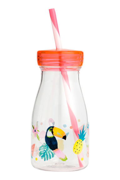 Screw cap bottle - Transparent/Pink - Kids | H&M 1