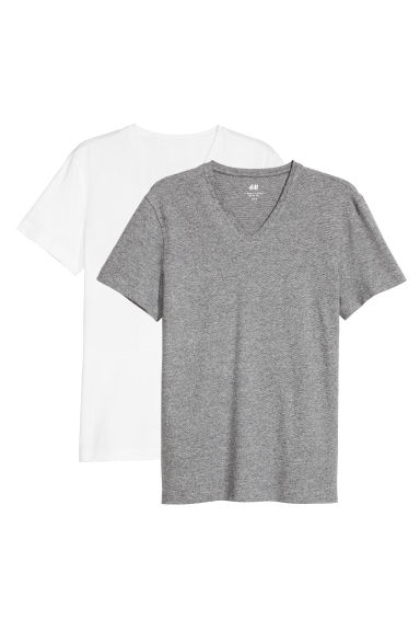 2-pack T-shirts Slim fit - White/Grey striped -  | H&M 1